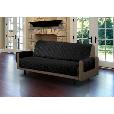 Microsuede Box Cushion Sofa Slipcover Upholstery: Black