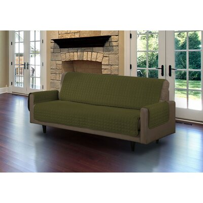 Microsuede Box Cushion Sofa Slipcover Upholstery: Sage