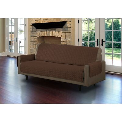 Microsuede Box Cushion Sofa Slipcover Upholstery: Brown