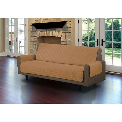 Microsuede Box Cushion Sofa Slipcover Upholstery: Camel