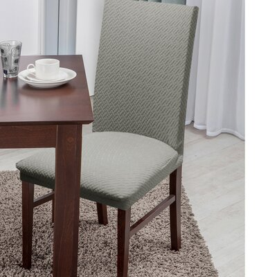 Basket Weave Texture Polyester Dining Chair Slipcover Upholstery: Gray