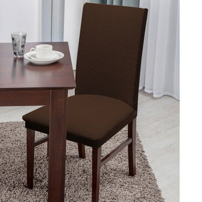 Basket Weave Texture Polyester Dining Chair Slipcover Upholstery: Brown