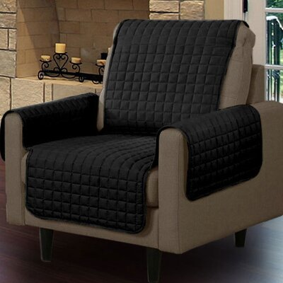 Microsuede Armchair Slipcover Upholstery: Black