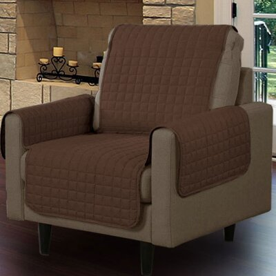 Box Cushion Armchair Slipcover Upholstery: Brown