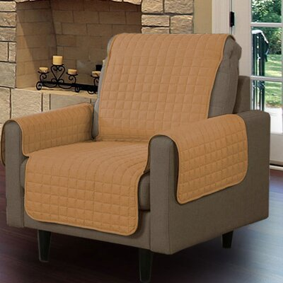 Box Cushion Armchair Slipcover Upholstery: Camel
