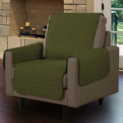 Box Cushion Armchair Slipcover Upholstery: Sage