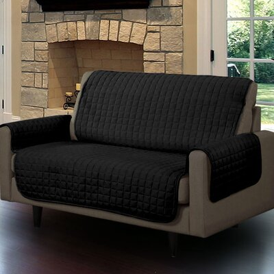 Microsuede Box Cushion Loveseat Slipcover Upholstery: Black