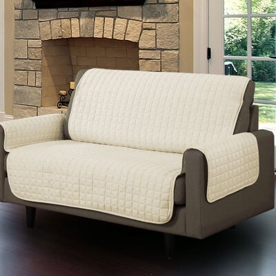 Microsuede Box Cushion Loveseat Slipcover Upholstery: Beige