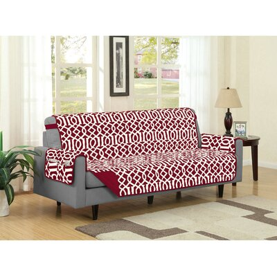 Box Cushion Sofa Slipcover Upholstery: Burgundy
