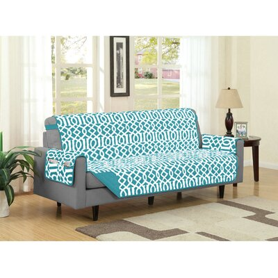 Box Cushion Sofa Slipcover Upholstery: Turquoise