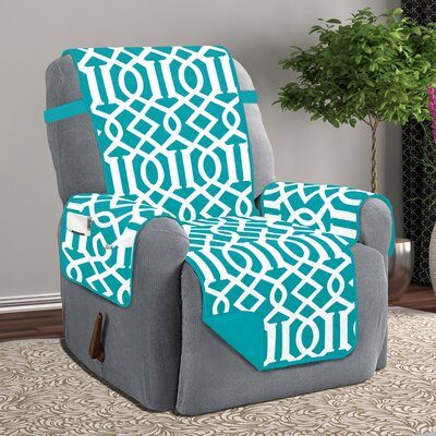 Box Cushion Recliner Slipcover Upholstery: Turquoise