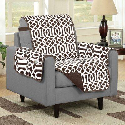 Box Cushion Armchair Slipcover Upholstery: Chocolate