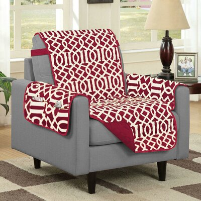 Box Cushion Armchair Slipcover Upholstery: Burgundy