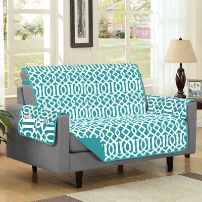 Box Cushion Loveseat Slipcover Upholstery: Turquoise