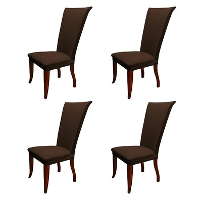Basket Weave Stretch Polyester Dining Chair Slipcover Upholstery: Brown