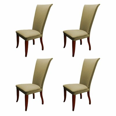 Basket Weave Stretch Polyester Dining Chair Slipcover Upholstery: Taupe