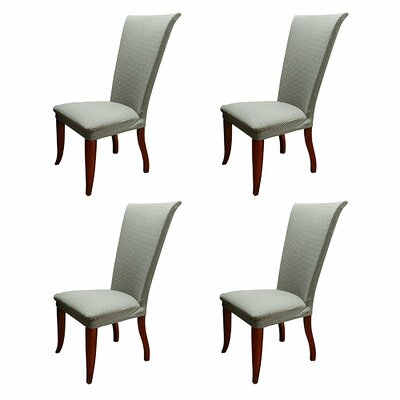Basket Weave Stretch Polyester Dining Chair Slipcover Upholstery: Gray