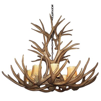 Attwood Antler Mule Deer Cascade 8-Light Candle-Style Chandelier Finish: Rustic Bronze/White, Shade Color: Parchment, Shade Included: Yes