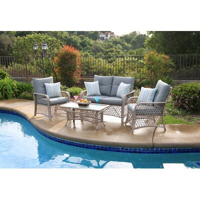 Burrell 4 Piece Deep Seating Group with Cushions