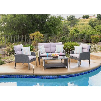Pearl Street 4 Piece Deep Seating Group with Cushions