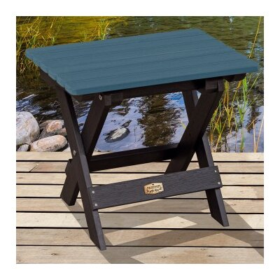 Cadey Essential Folding Side Table Top Finish: Black/Blue