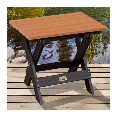 Cadey Essential Folding Side Table Top Finish: Black/Tan