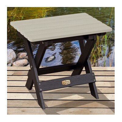 Cadey Essential Folding Side Table Top Finish: Black/Ivory