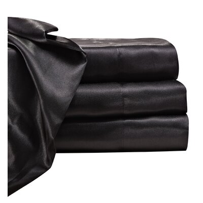 Jeannie 230 Thread Count Satin Sheet Set Color: Black, Size: Queen