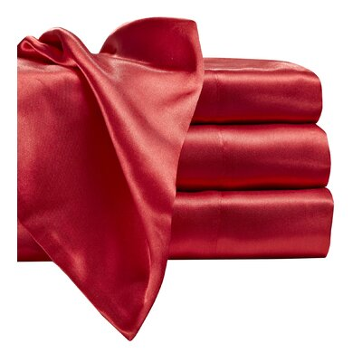 Marius 230 Thread Count Satin Sheet Set Size: Full, Color: Red
