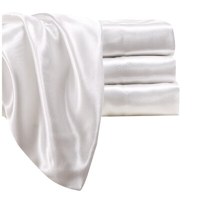 Marius 230 Thread Count Satin Sheet Set Size: Full, Color: Ivory