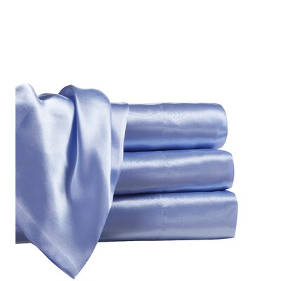 Marius 230 Thread Count Satin Sheet Set Size: California King, Color: Blue