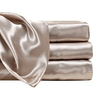 Marius 230 Thread Count Satin Sheet Set Size: King, Color: Mocha