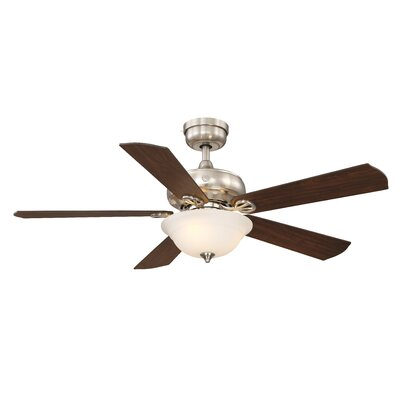 52 Skyplug Selena 5 Blade Ceiling Fan with Remote Finish: Brushed Nickel with Natural Walnut Blades