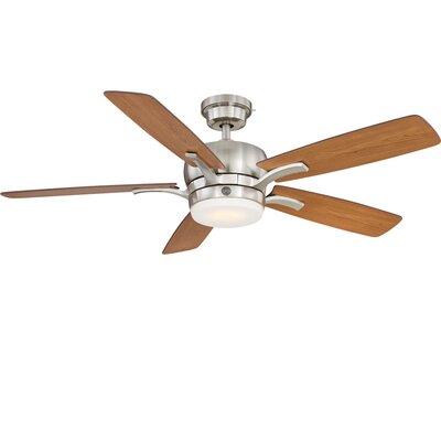 54 Skyplug Adley 5 Blade LED Ceiling Fan with Remote Finish: Brushed Nickel with Walnut/Natural Cherry Blades