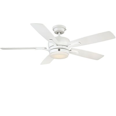 54 Skyplug Adley 5 Blade LED Ceiling Fan with Remote Finish: White with Matte White/Maple Blades
