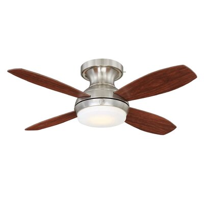 52 Skyplug Pierson 4 Blade LED Ceiling Fan with Remote Finish: Brushed Nickel with Walnut/Natural Cherry Blades