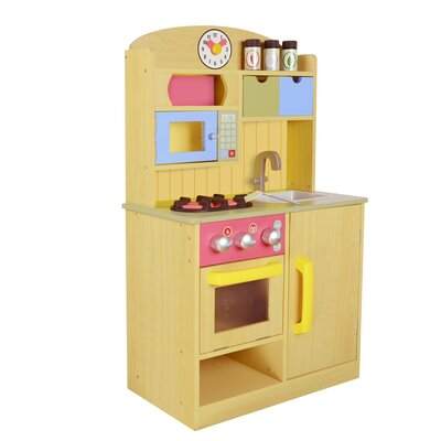 5 Piece Little Chef Wooden Play Kitchen Set with Accessories Finish: Beige TD-11708A