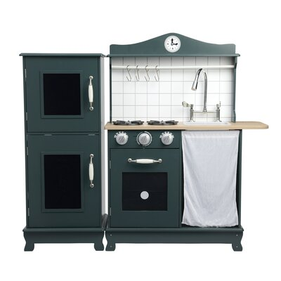 Cottage Play Kitchen Color: Dark Green / Oak Grain