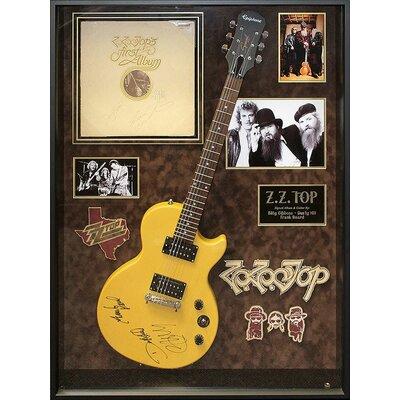 Autographed ZZ Top Guitar 'First Album' Framed Vintage Advertisement