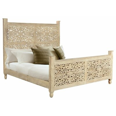 Buena Park Carved Panel Bed Color: Natural, Size: King