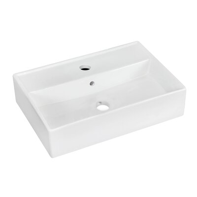 Ceramic 20 Wall Mount Bathroom Sink with Overflow Faucet Mount: Single