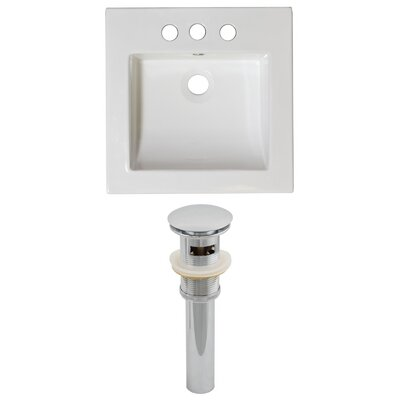 Nikki Ceramic 22 Single Bathroom Vanity Top Faucet Mount: 4 Centers