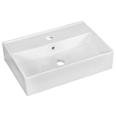Ceramic Rectangular Vessel Bathroom Sink with Overflow Faucet Mount: Single