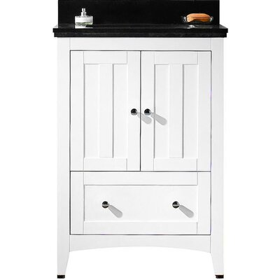 Nixon Floor Mount 23.75 Single Bathroom Vanity Set with Ceramic Top Top Finish: Black Galaxy, Sink Finish: White, Faucet Mount: 4 Centers