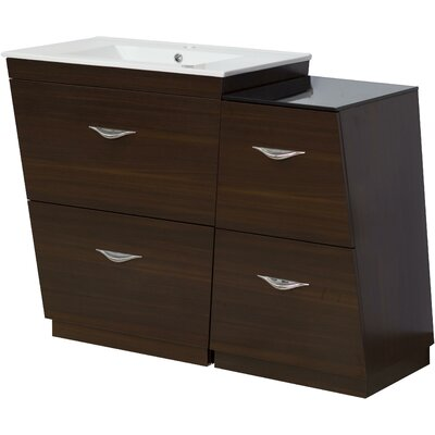Kao Wood Floor Mount 43.25 Single Bathroom Vanity Set Faucet Mount: Single Hole