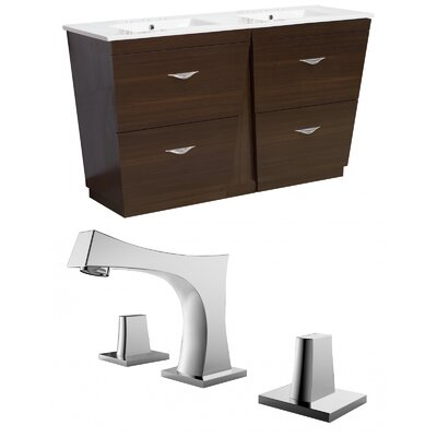 Kao Modern Floor Mount 48 Single Bathroom Vanity Set Faucet Mount: 8 Centers