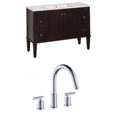 Harrop Floor Mount 48 Single Bathroom Vanity Set Faucet Mount: 8 Centers