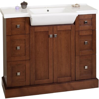 Noblestown Floor Mount 40 Single Bathroom Vanity Set Base Finish: Cherry, Faucet Mount: 8 Centers