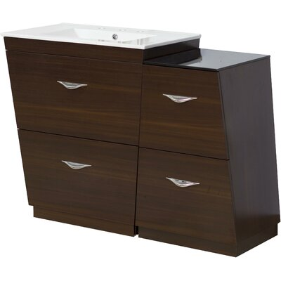 Kao Wood Floor Mount 49.5 Single Bathroom Vanity Set Faucet Mount: 8 Centers