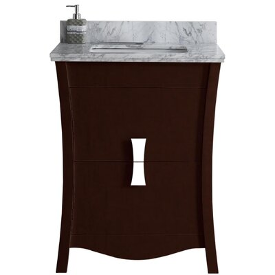Cataldo Floor Mount 24 Single Bathroom Vanity Set with Single Hole Faucet Mount Base Finish: Coffee, Top Finish: Bianca Carara, Sink Finish: White